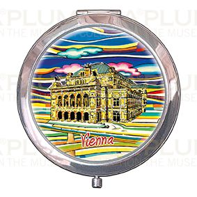 Pocket-Mirror with box, Vienna, Oper, 70x11mm