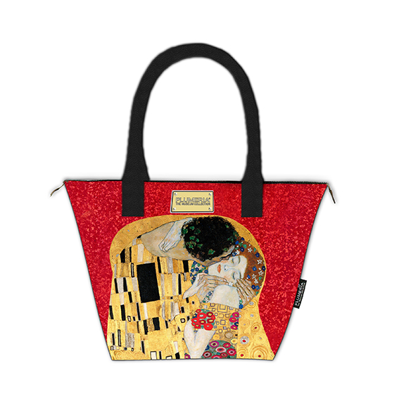 Tote Bag Canvas, Klimt, The Kiss Red