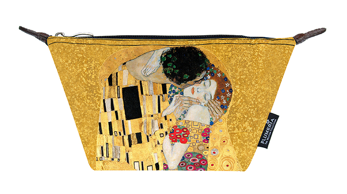 Cosmetic Bag Canvas, Klimt, The Kiss Gold