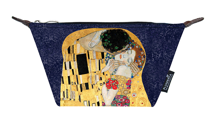 Cosmetic Bag Canvas, Klimt, The Kiss Blue