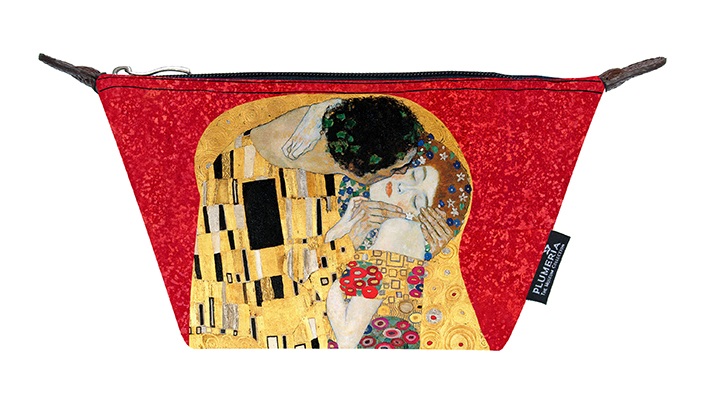 Cosmetic Bag Canvas, Klimt, The Kiss Red