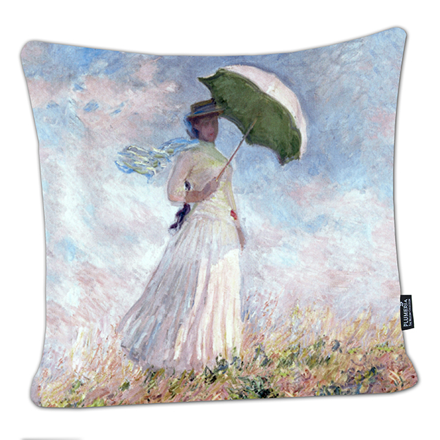 Cushion, Monet, Women with Parasol