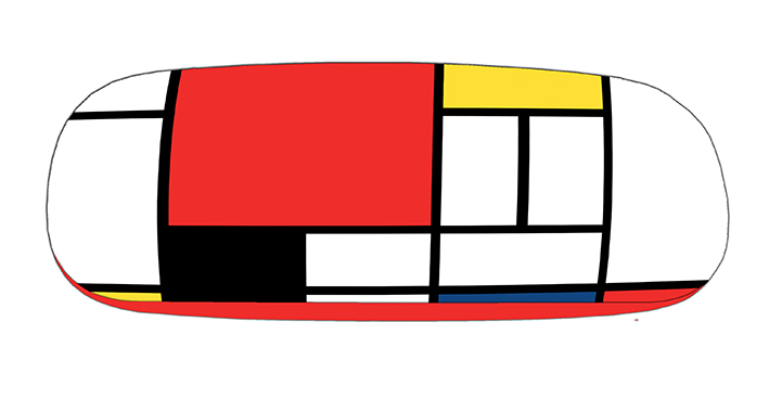 Eyeglasses Case with CC, Mondrian, Composition