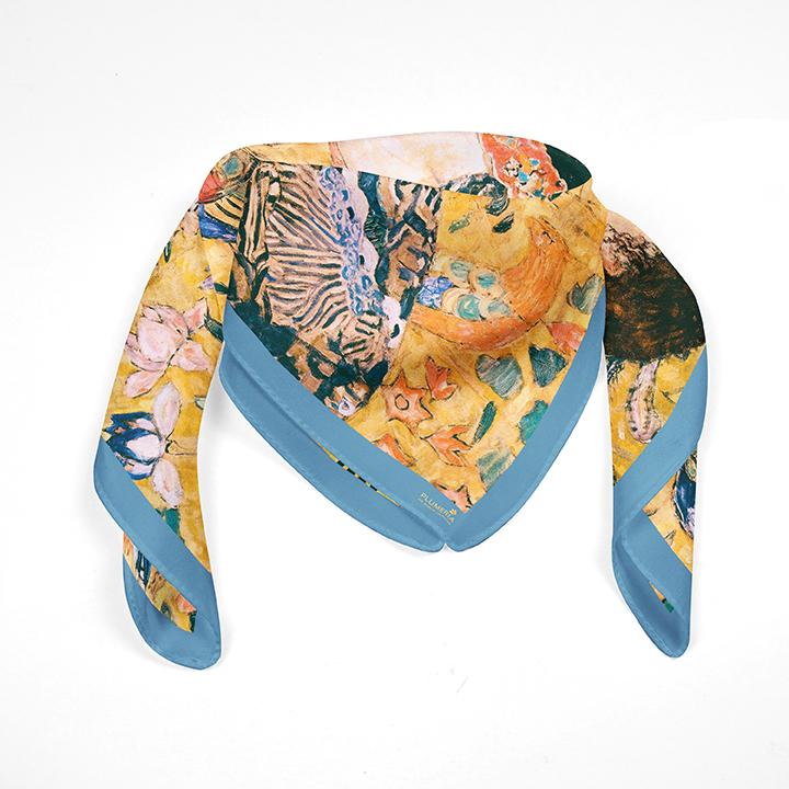 Square, Klimt, Women with Fan, 90x90cm, 100% Silk