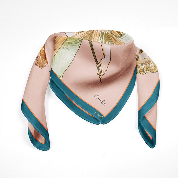 Square, Mucha, Spring, 90x90cm, 100% Silk