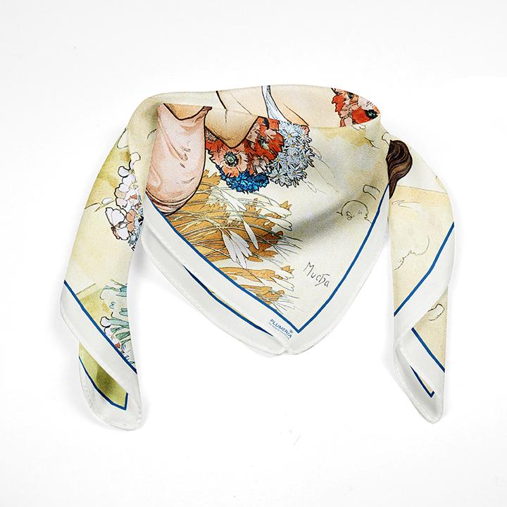 Square, Mucha, Summer, 90x90cm, 100% Silk