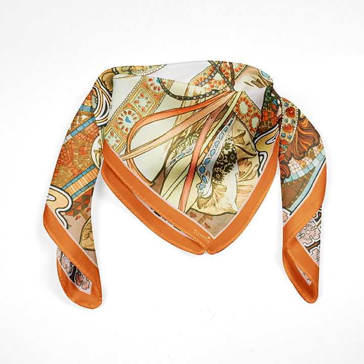 Square, Mucha, Autumn, 90x90cm, 100% Silk