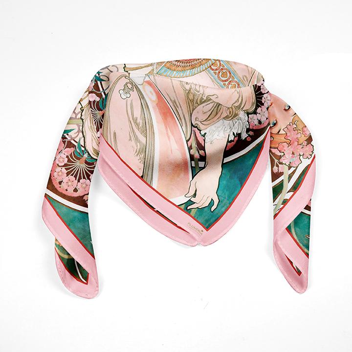 Square, Mucha, Reverie, 90x90cm, 100% Silk