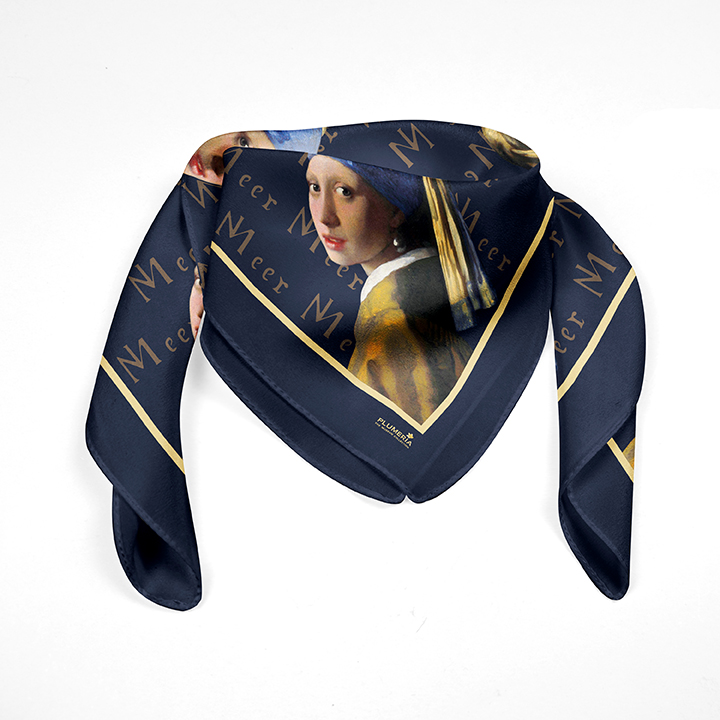Square, Vermeer, Girl with a Pearl Earring, 90x90cm, 100% Silk