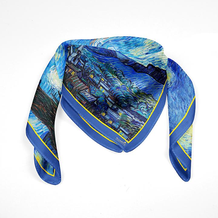 Square, Van Gogh, Starry Night, 90x90cm, 100% Silk