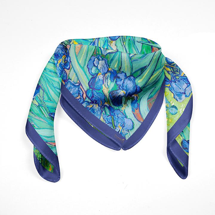 Square, Van Gogh, Irises, 90x90cm, 100% Silk