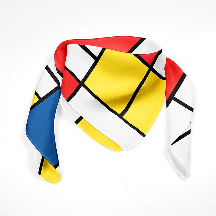 Square, Mondrian, Composition, 90x90cm, 100% Silk