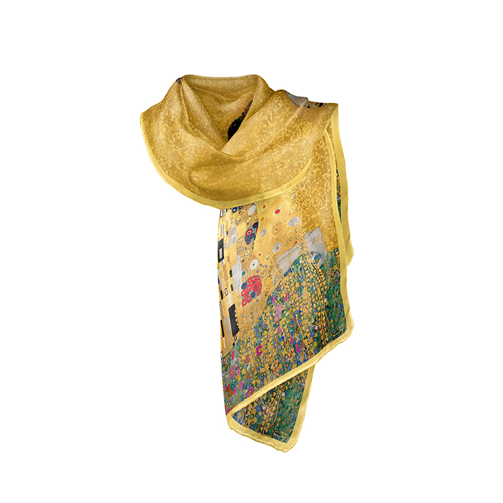 Scarf, Klimt, The Kiss Gold, 40x160cm, Modal