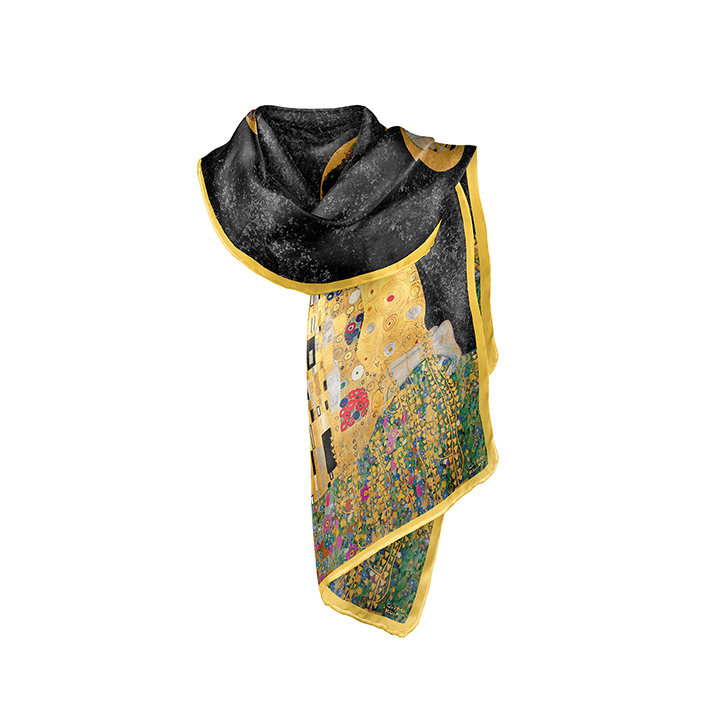 Scarf, Klimt, The Kiss Black, 40x160cm, Modal