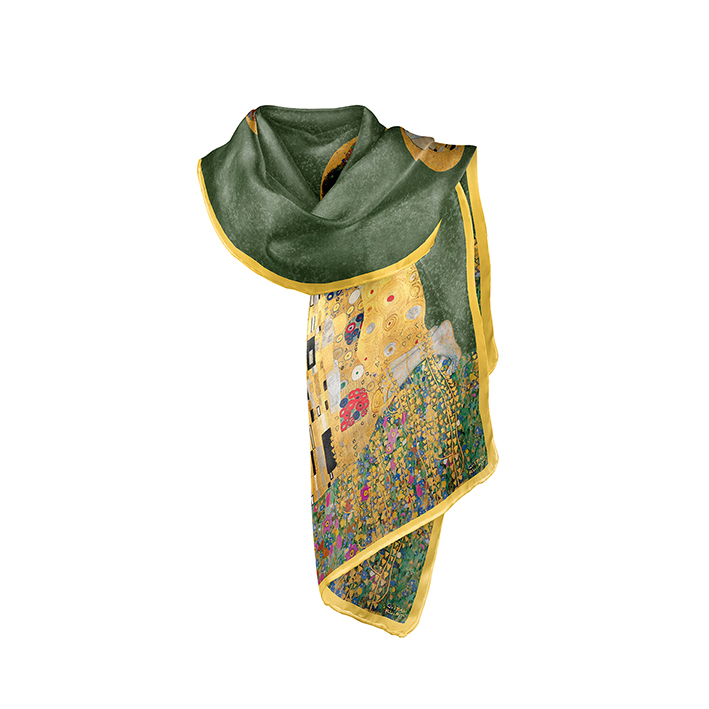 Scarf, Klimt, The Kiss Green, 40x160cm, Modal