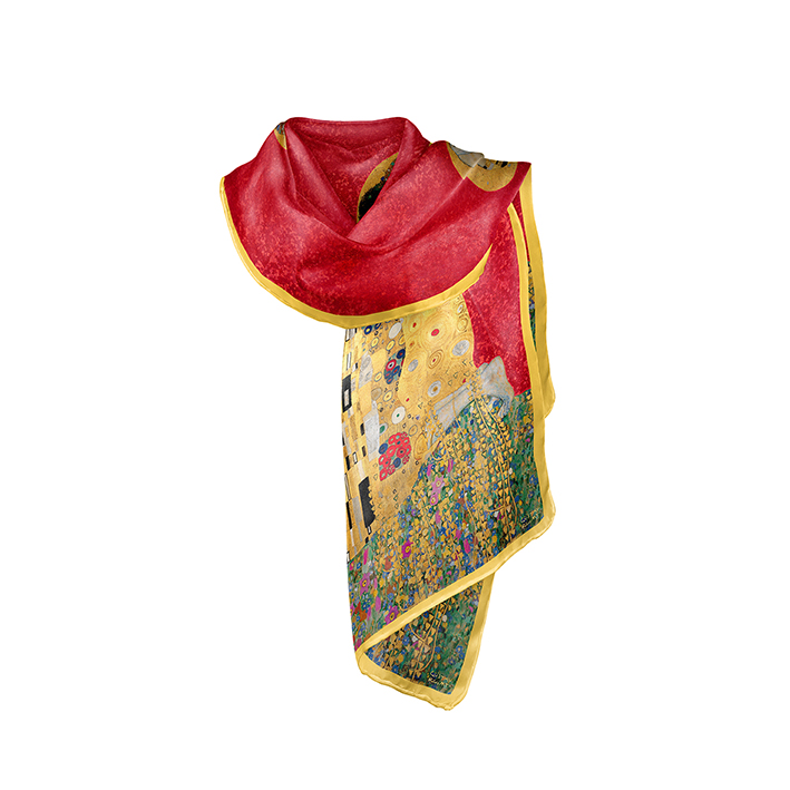 Scarf, Klimt, The Kiss Red, 40x160cm, Modal
