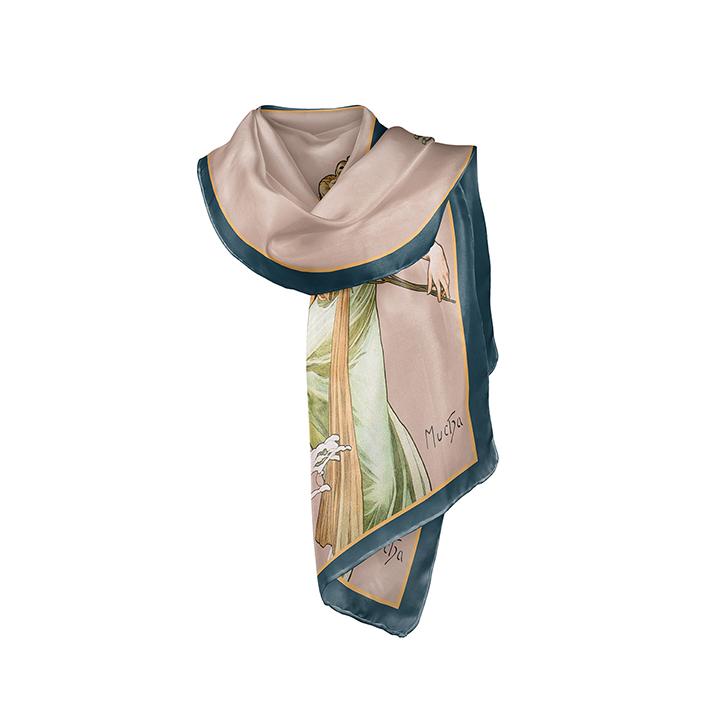 Scarf, Mucha, Spring, 40x160cm, 100% Silk