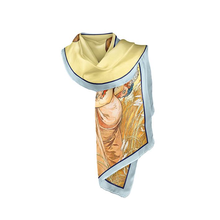 Scarf, Mucha, Summer, 40x160cm, 100% Silk