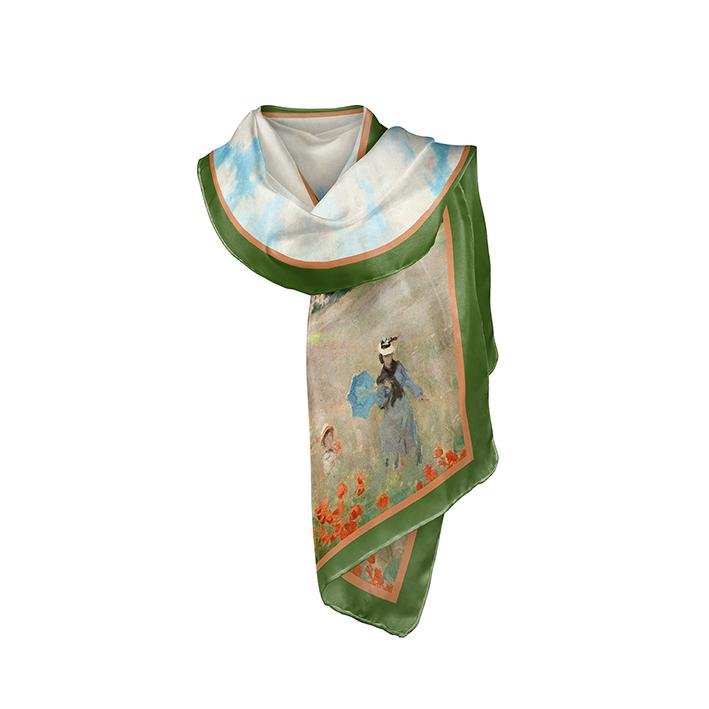 Scarf, Monet, Poppies near Argenteuil, 40x160cm, 100% Silk