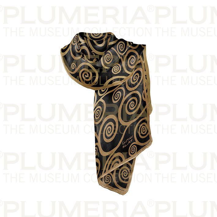 Scarf, Klimt, Ornaments Black/Gold, 40x160cm, 100% Silk