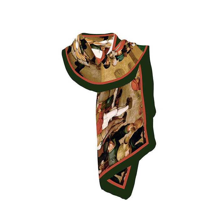 Scarf, Bruegel, Peasant Wedding, 40x160cm, 100% Silk