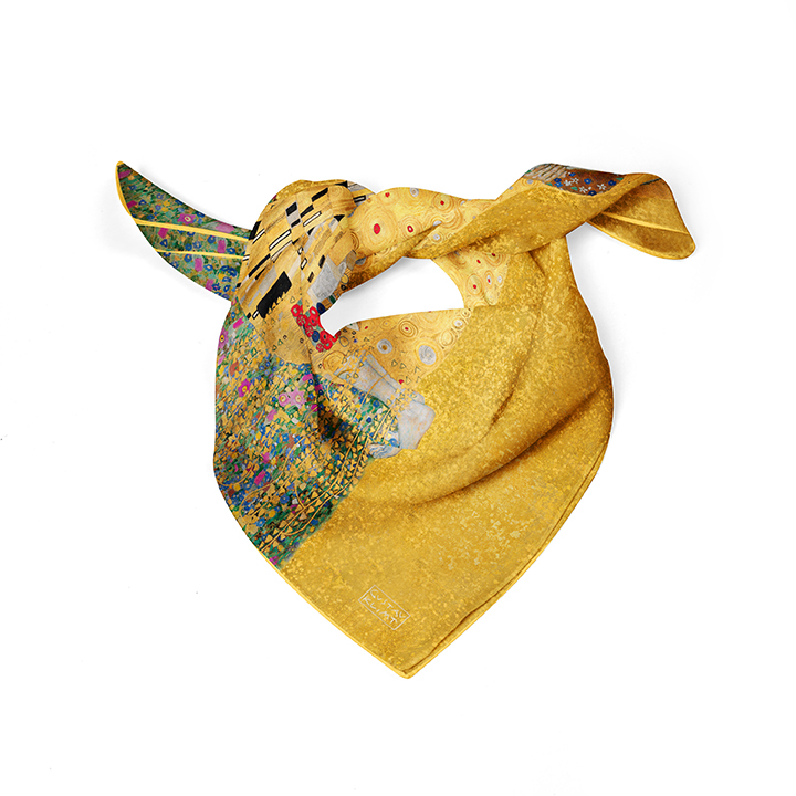 Square, Klimt, The Kiss, 52x52cm, 100% Silk