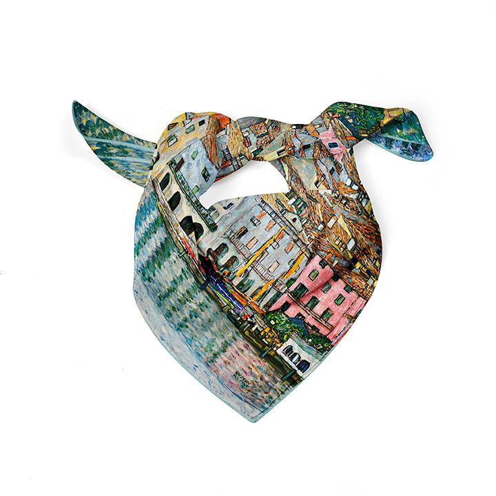 Square, Klimt, Malcesine, 52x52cm, 100% Silk