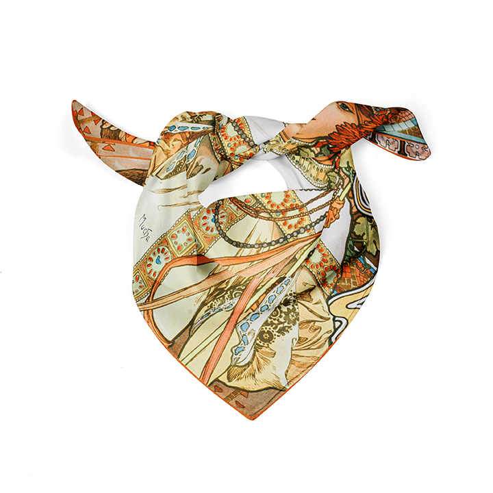 Square, Mucha, Autumn, 52x52cm, 100% Silk