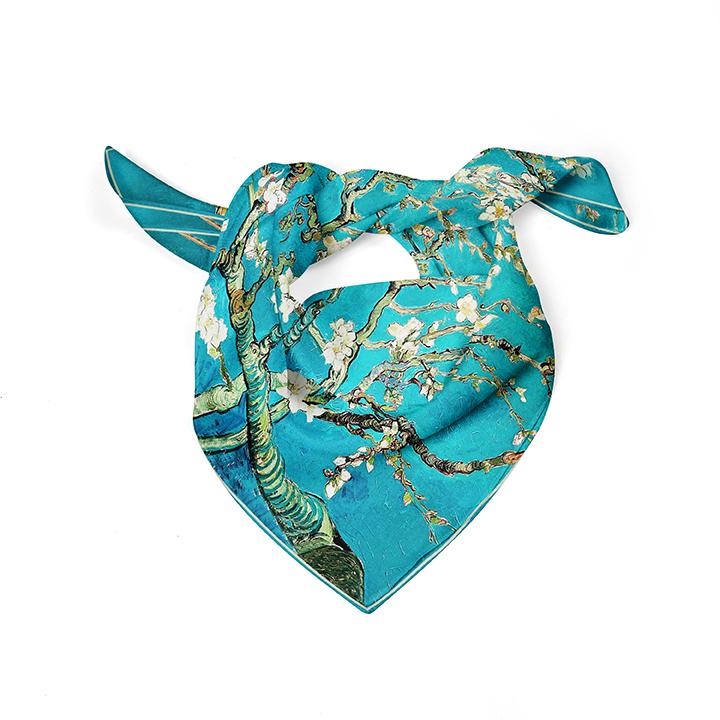 Square, Van Gogh, Almond blossom, 52x52cm, 100% Silk