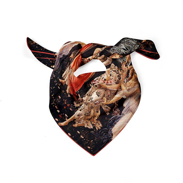 Square, Botticelli, La Primavera, 52x52cm, 100% Silk