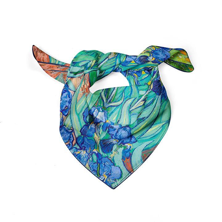 Square, Van Gogh, Irises, 52x52cm, 100% Silk