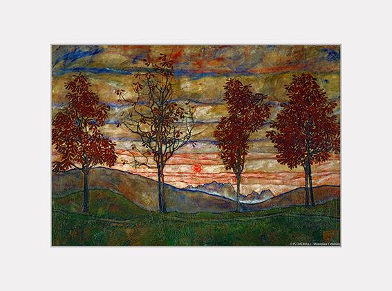 Passe Partout, Schiele, Four Trees, 39x29cm