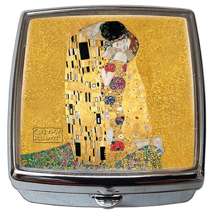 Pill-Box Square, Klimt, The Kiss, Gold, 54x58x18mm