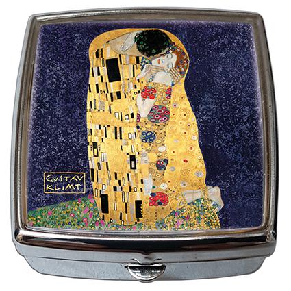 Pill-Box Square, Klimt, The Kiss, Blue, 54x58x18mm