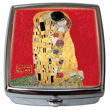 Pill-Box Square, Klimt, The Kiss, Red, 54x58x18mm