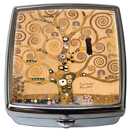 Pill-Box Square, Klimt, Tree of Life, 54x58x18mm
