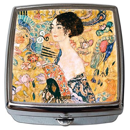 Pill-Box Square, Klimt, Women with Fan, 54x58x18mm