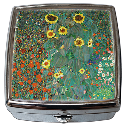 Pill-Box Square, Klimt, Garden with Sunflowers, 54x58x18mm