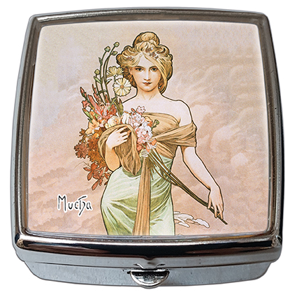 Pill-Box Square, Mucha, Spring, 54x58x18mm
