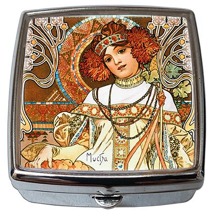 Pill-Box Square, Mucha, Autumn, 54x58x18mm