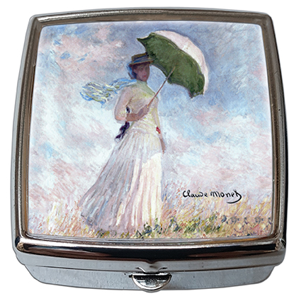 Pill-Box Square, Monet, Women with Parasol, 54x58x18mm