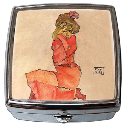Pill-Box Square, Schiele, Kneeling Female, 54x58x18mm