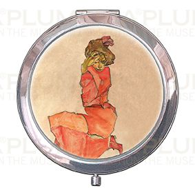 Pocket-Mirror with box, Schiele, Kneeling Female, 70x11mm