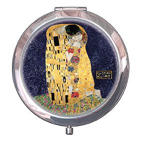 Pocket-Mirror, Klimt, The Kiss, Blue, 70x11mm
