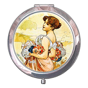 Pocket-Mirror, Mucha, Summer, 70x11mm
