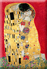 Magnet, Klimt, The Kiss, Red, 80x55mm