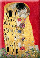Magnet, Klimt, The Kiss, Red, 80x55mm