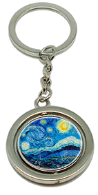 Keychain, Van Gogh, Starry Night & Detail